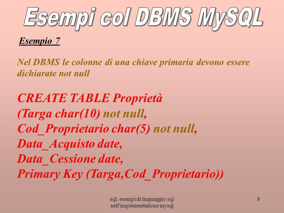 sql: esempi di linguaggio sql nell implementazione mysql 8 Nel DBMS le colonne di una chiave primaria devono essere dichiarate not null CREATE TABLE Proprietà (Targa char(10) not null, Cod_Proprietario char(5) not null, Data_Acquisto date, Data_Cessione date, Primary Key (Targa,Cod_Proprietario)) Esempio 7