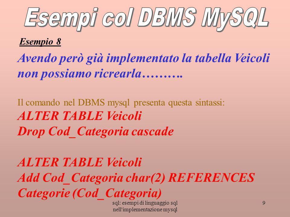sql: esempi di linguaggio sql nell'implementazione mysql 9 Avendo però già implementato la tabella Veicoli non possiamo ricrearla………. Il comando nel D