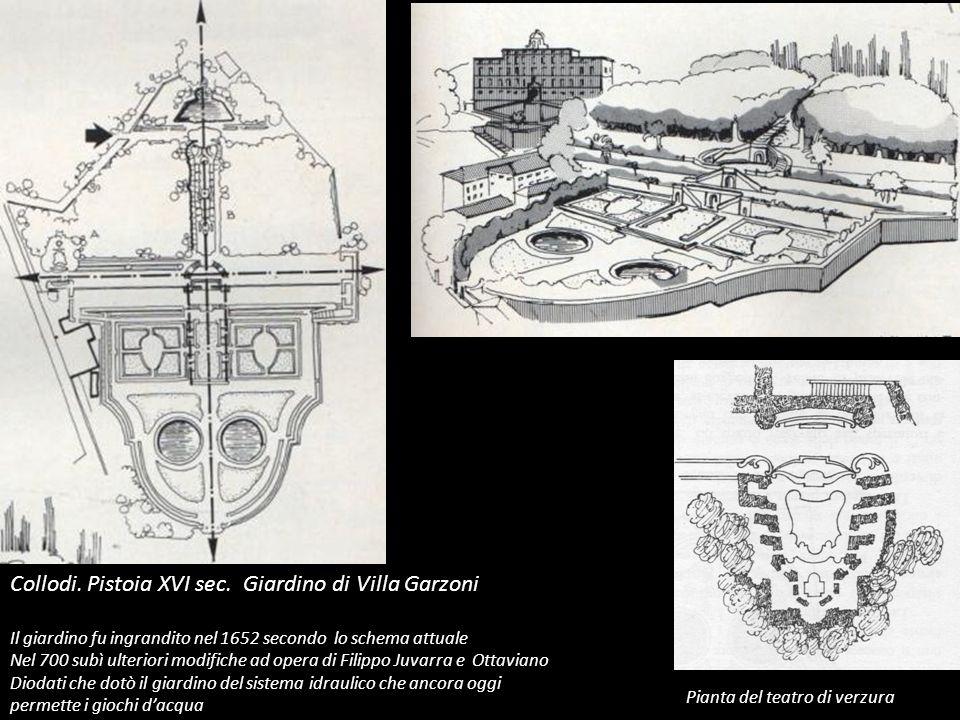 Collodi. Pistoia XVI sec. Giardino di Villa Garzoni Il giardino fu ingrandito nel 1652 secondo lo schema attuale Nel 700 subì ulteriori modifiche ad o