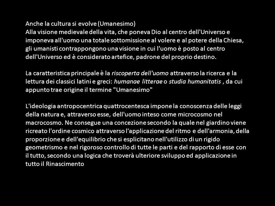 Nascono i primi trattati sull arte di progettare i giardini come il De re aedificatoria di Leon Battista Alberti.
