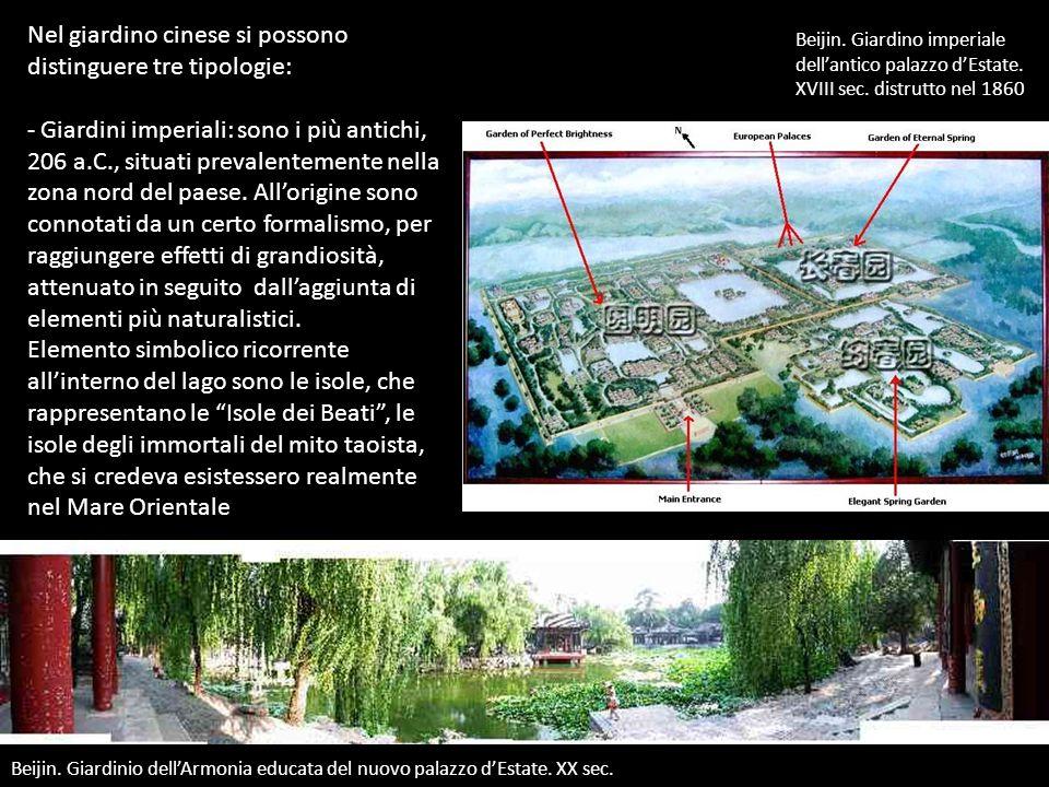 Nel giardino cinese si possono distinguere tre tipologie: - Giardini imperiali: sono i più antichi, 206 a.C., situati prevalentemente nella zona nord