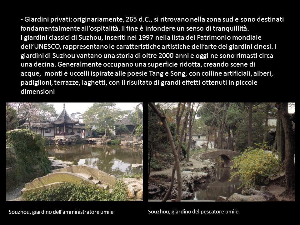 - Giardini privati: originariamente, 265 d.C., si ritrovano nella zona sud e sono destinati fondamentalmente allospitalità. Il fine è infondere un sen