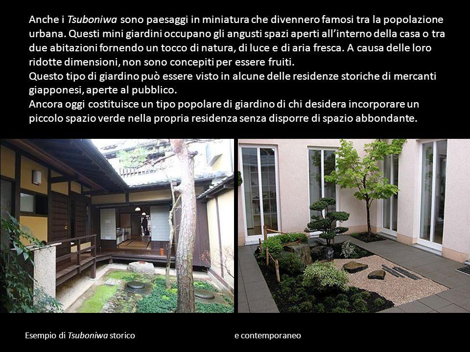 Esempio di Tsuboniwa storico e contemporaneo Anche i Tsuboniwa sono paesaggi in miniatura che divennero famosi tra la popolazione urbana. Questi mini
