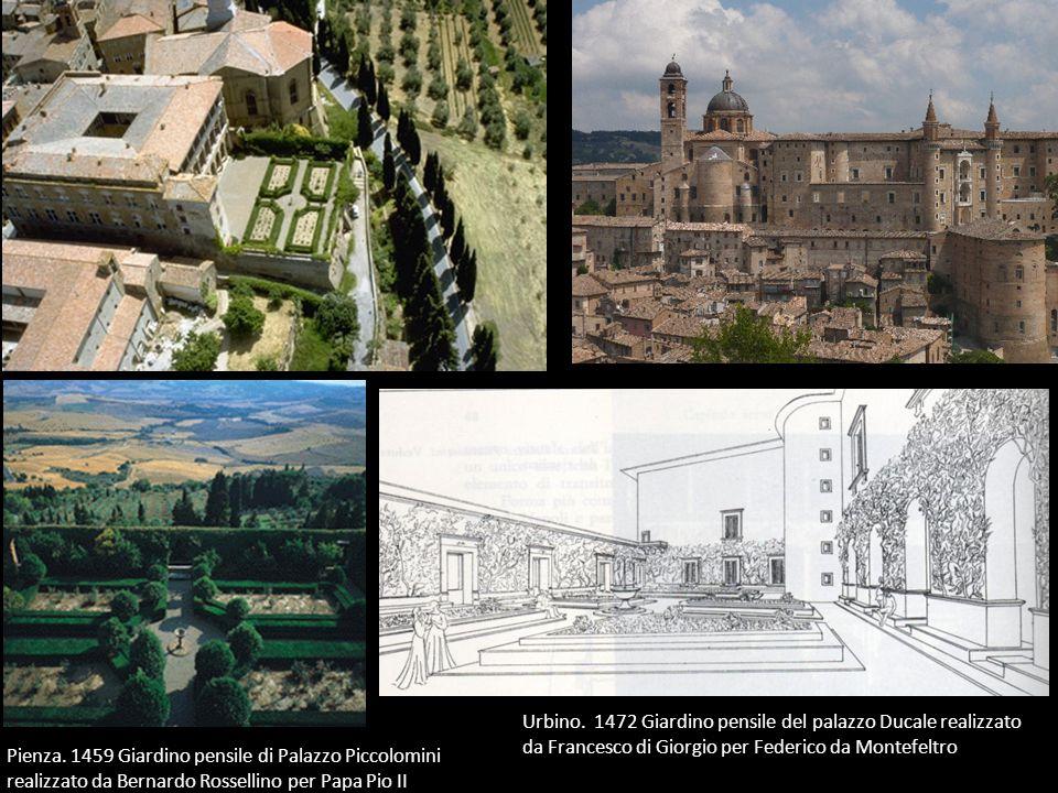 Urbino. 1472 Giardino pensile del palazzo Ducale realizzato da Francesco di Giorgio per Federico da Montefeltro Pienza. 1459 Giardino pensile di Palaz