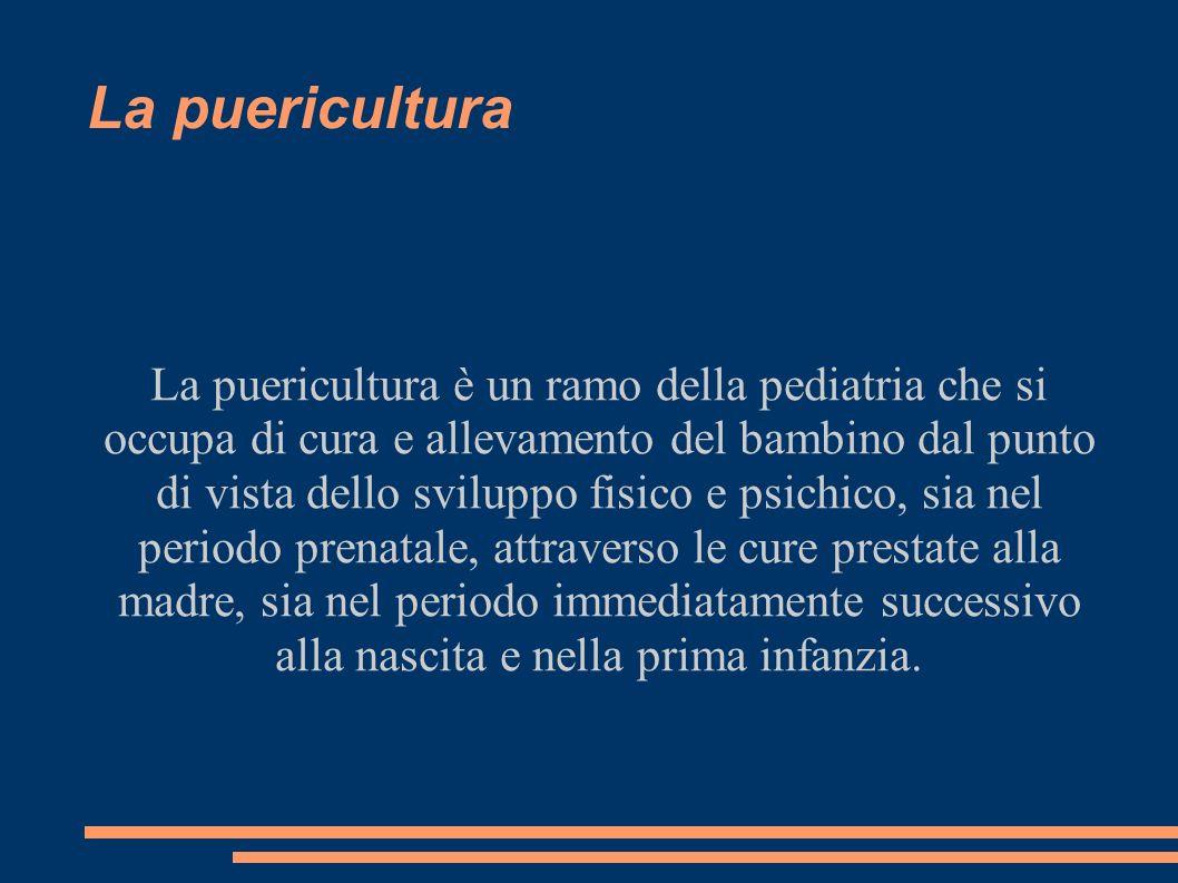 La puericultura La puericultura è un ramo della pediatria che si occupa di cura e allevamento del bambino dal punto di vista dello sviluppo fisico e p