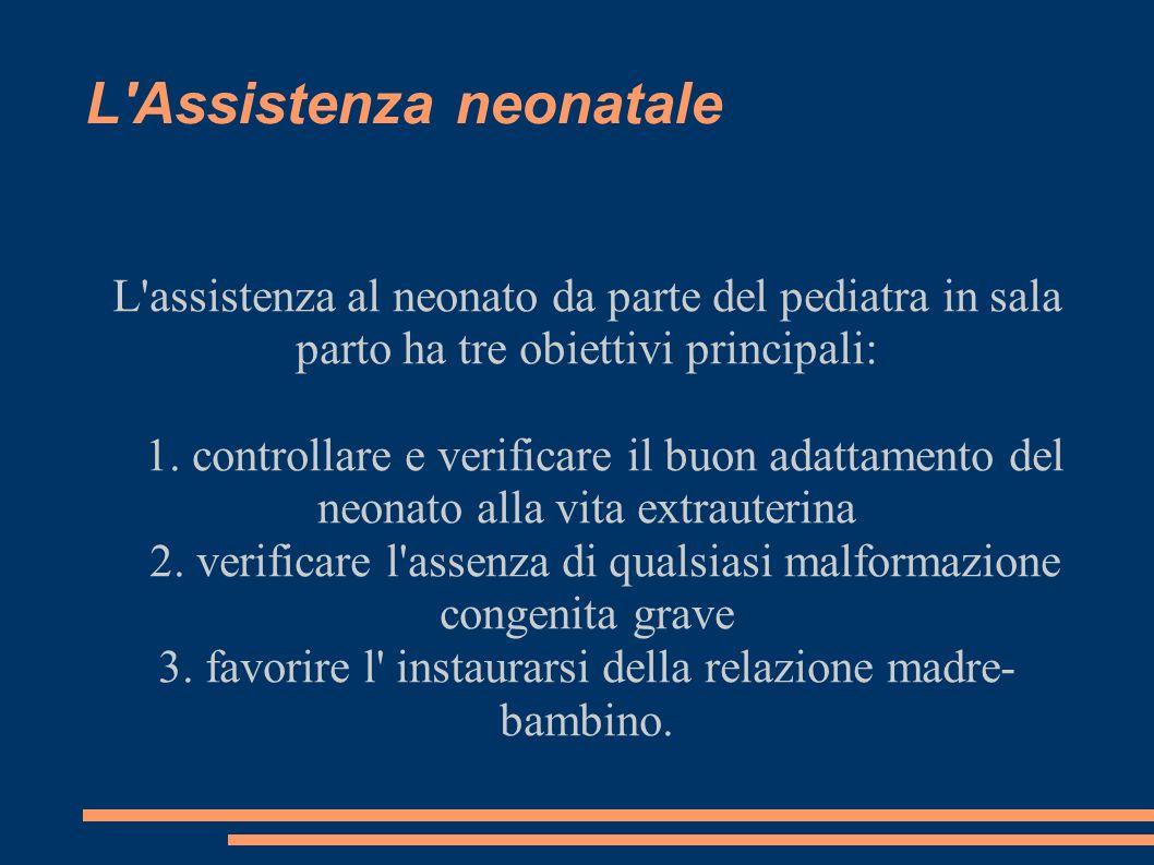 L'Assistenza neonatale L'assistenza al neonato da parte del pediatra in sala parto ha tre obiettivi principali: 1. controllare e verificare il buon ad
