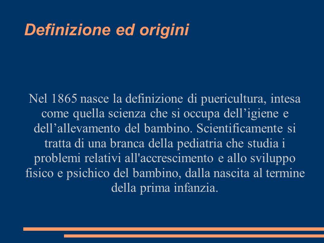 Definizione ed origini Nel 1865 nasce la definizione di puericultura, intesa come quella scienza che si occupa delligiene e dellallevamento del bambin