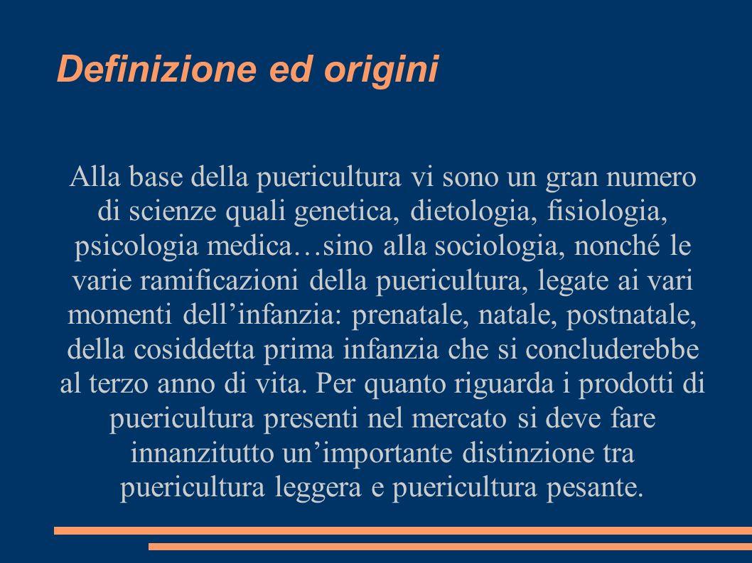 Definizione ed origini Alla base della puericultura vi sono un gran numero di scienze quali genetica, dietologia, fisiologia, psicologia medica…sino a