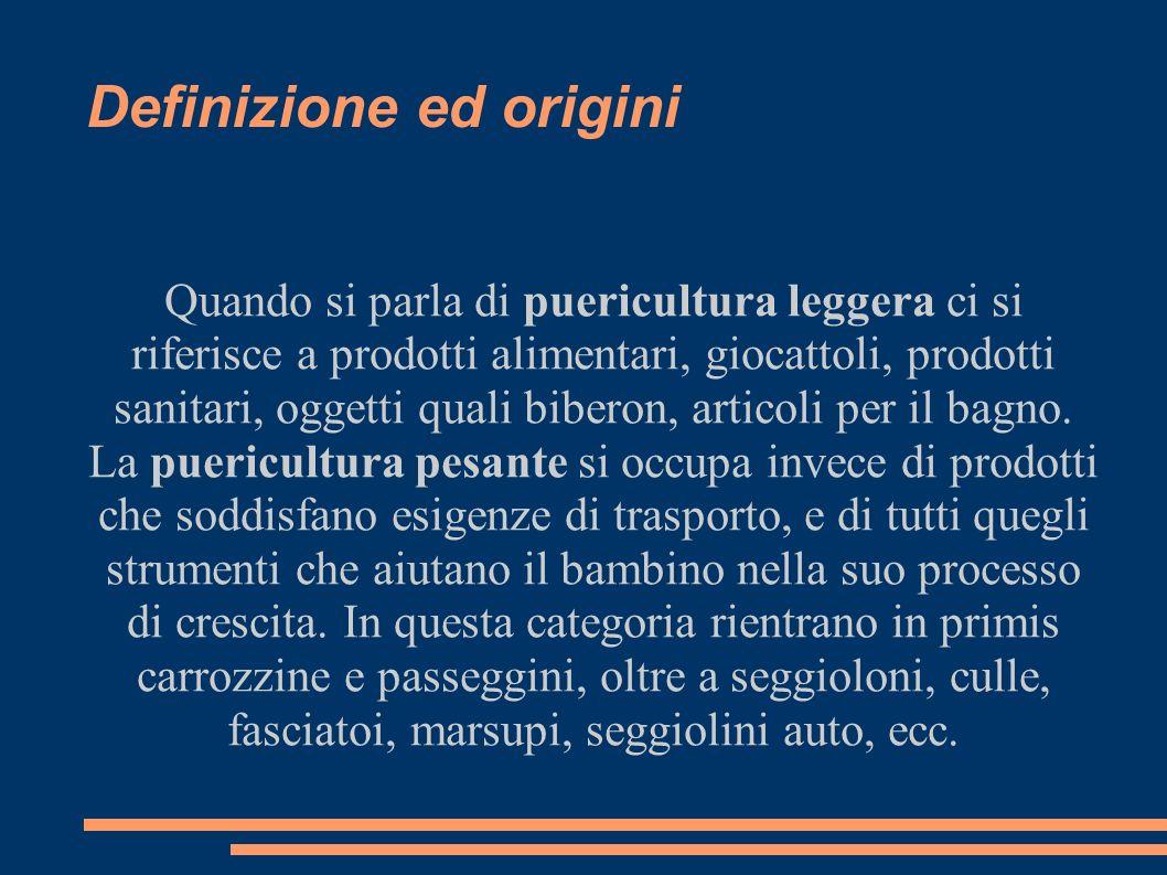 Definizione ed origini Quando si parla di puericultura leggera ci si riferisce a prodotti alimentari, giocattoli, prodotti sanitari, oggetti quali bib