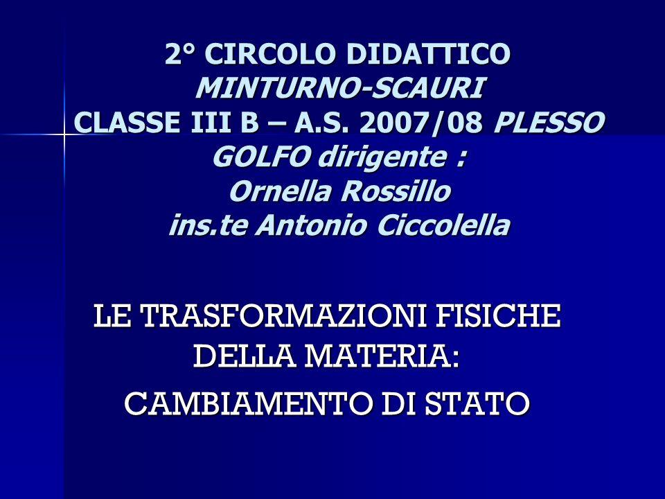2° CIRCOLO DIDATTICO MINTURNO-SCAURI CLASSE III B – A.S. 2007/08 PLESSO GOLFO dirigente : Ornella Rossillo ins.te Antonio Ciccolella LE TRASFORMAZIONI