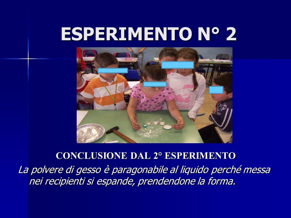 ESPERIMENTO N° 2 CONCLUSIONE DAL 2° ESPERIMENTO La polvere di gesso è paragonabile al liquido perché messa nei recipienti si espande, prendendone la f