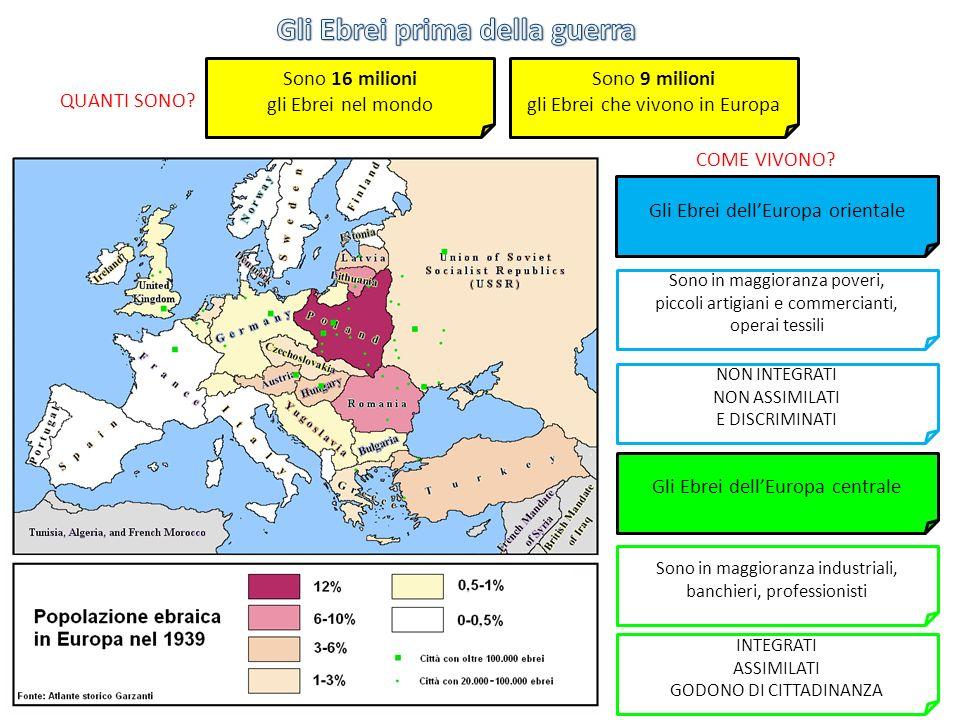 Sono 9 milioni gli Ebrei che vivono in Europa Sono 16 milioni gli Ebrei nel mondo Gli Ebrei dellEuropa orientale Gli Ebrei dellEuropa centrale QUANTI SONO.