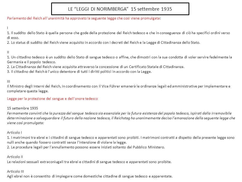 Parlamento del Reich all unanimità ha approvato la seguente legge che così viene promulgata: I 1.