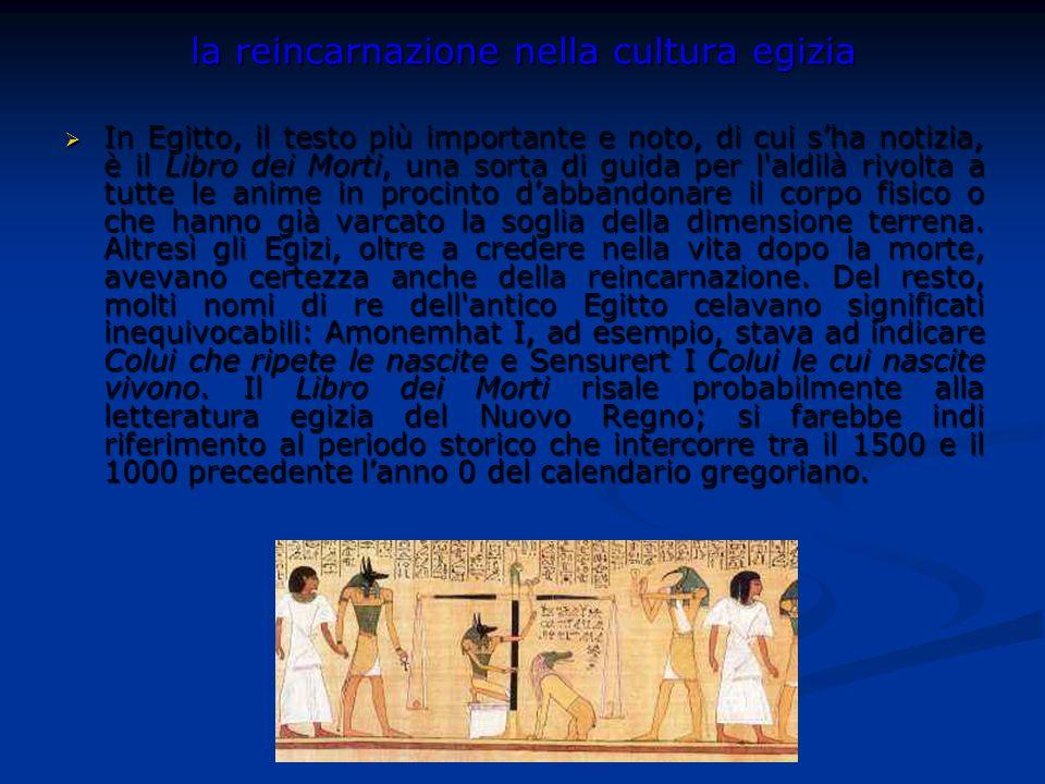 la reincarnazione nella cultura egizia In Egitto, il testo più importante e noto, di cui sha notizia, è il Libro dei Morti, una sorta di guida per l'a