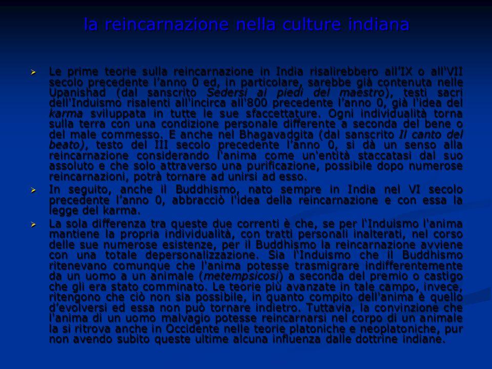 la reincarnazione nella culture indiana Le prime teorie sulla reincarnazione in India risalirebbero allIX o all'VII secolo precedente lanno 0 ed, in p