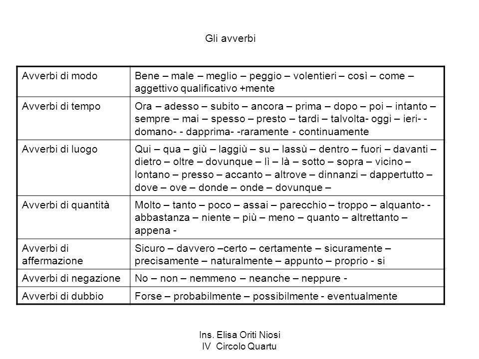 Ins. Elisa Oriti Niosi IV Circolo Quartu Gli avverbi Avverbi di modoBene – male – meglio – peggio – volentieri – così – come – aggettivo qualificativo