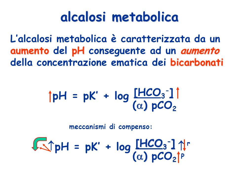 aumentopH aumento bicarbonati Lalcalosi metabolica è caratterizzata da un aumento del pH conseguente ad un aumento della concentrazione ematica dei bi