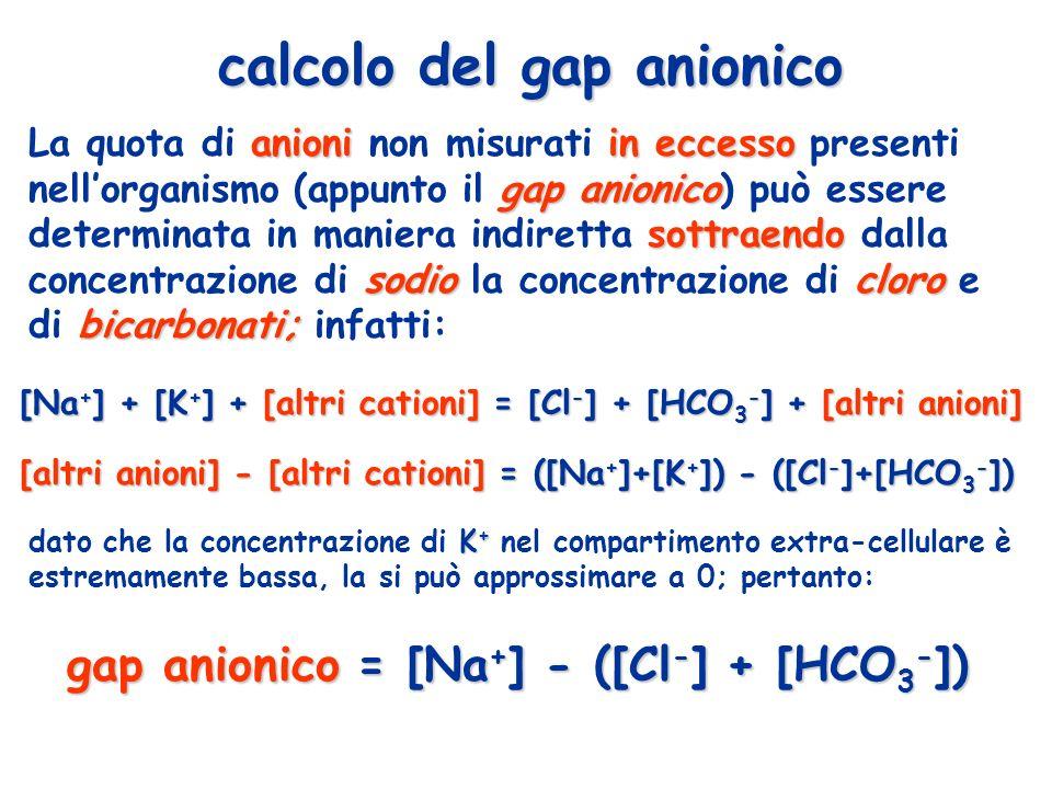 calcolo del gap anionico anioniin eccesso gap anionico sottraendo sodiocloro bicarbonati; La quota di anioni non misurati in eccesso presenti nellorga