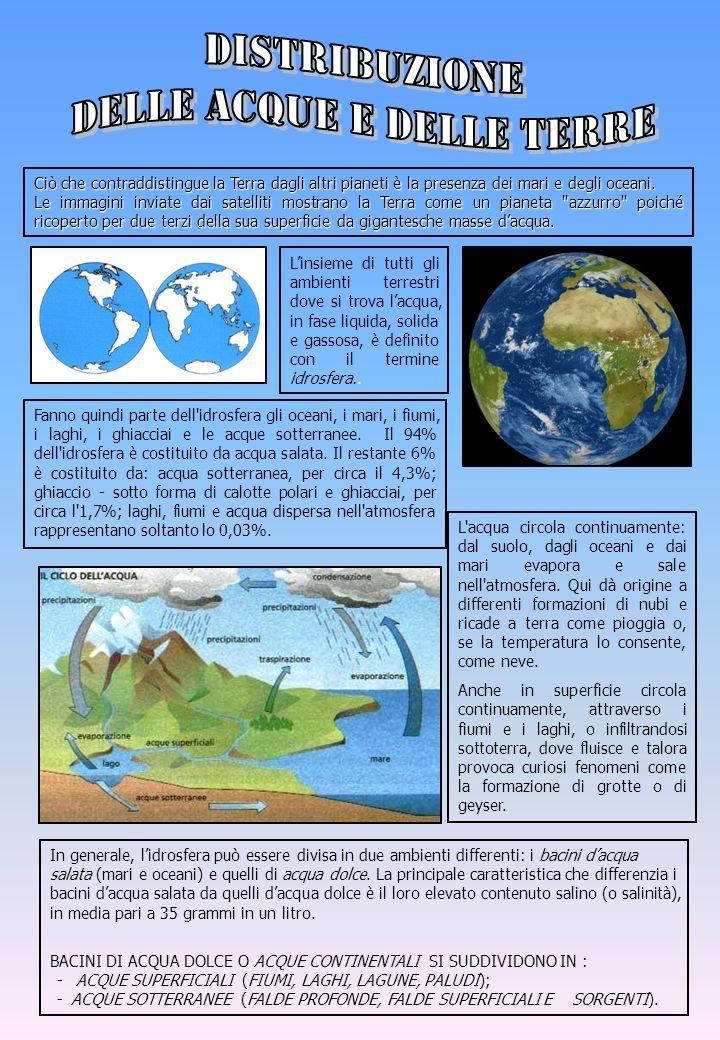Ciò che contraddistingue la Terra dagli altri pianeti è la presenza dei mari e degli oceani. Le immagini inviate dai satelliti mostrano la Terra come