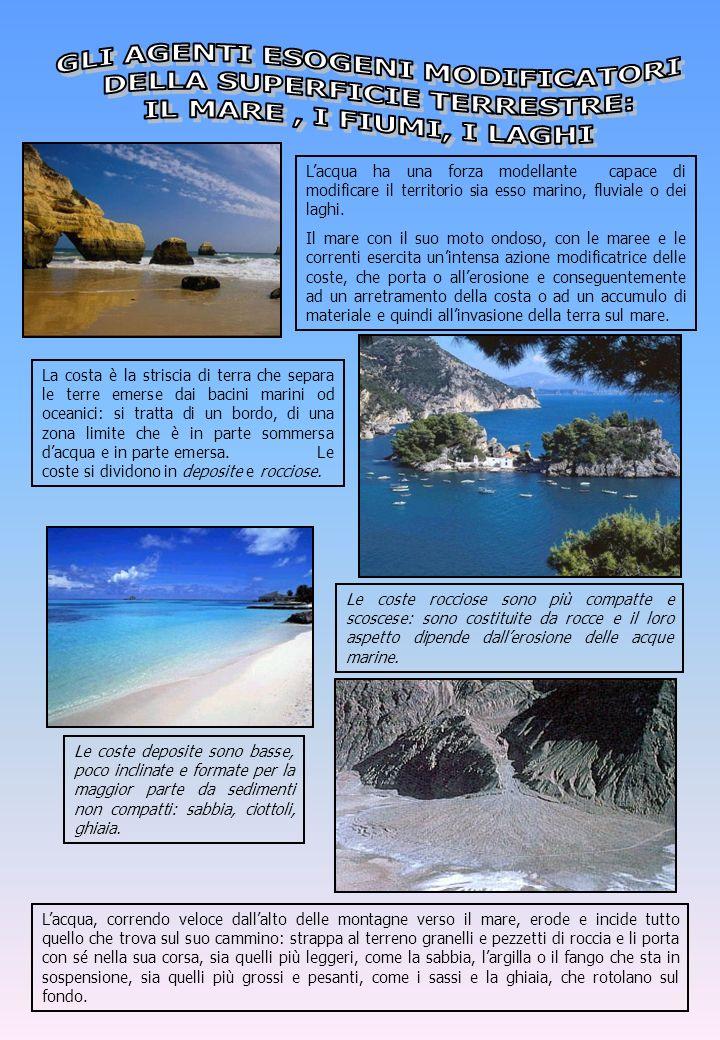 Lacqua ha una forza modellante capace di modificare il territorio sia esso marino, fluviale o dei laghi. Il mare con il suo moto ondoso, con le maree
