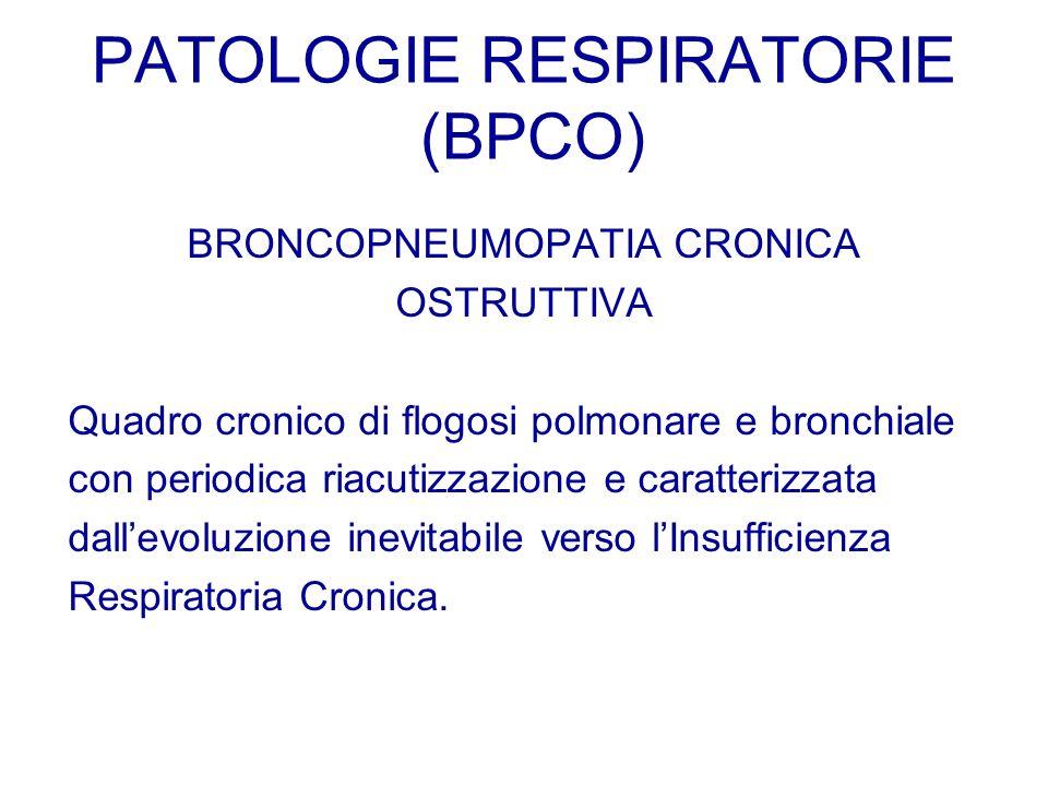 BRONCOPNEUMOPATIA CRONICA OSTRUTTIVA Quadro cronico di flogosi polmonare e bronchiale con periodica riacutizzazione e caratterizzata dallevoluzione in