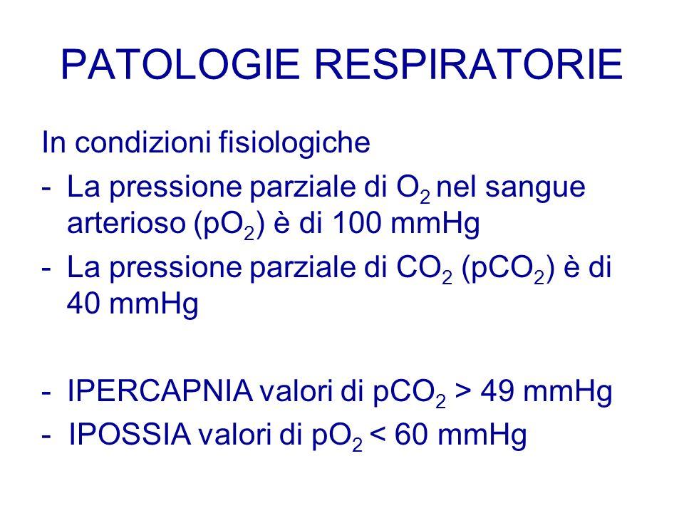 PATOLOGIE RESPIRATORIE In condizioni fisiologiche -La pressione parziale di O 2 nel sangue arterioso (pO 2 ) è di 100 mmHg -La pressione parziale di C