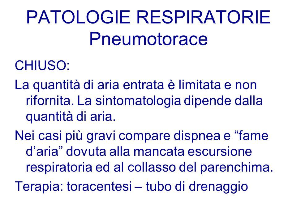 PATOLOGIE RESPIRATORIE Pneumotorace CHIUSO: La quantità di aria entrata è limitata e non rifornita. La sintomatologia dipende dalla quantità di aria.
