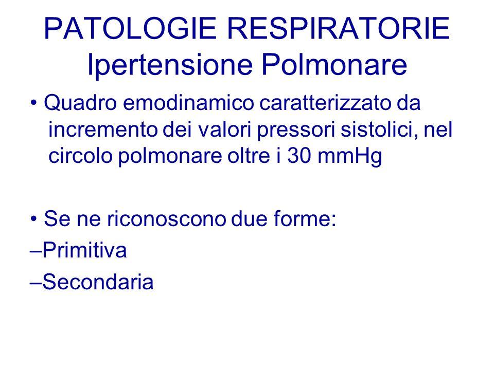 PATOLOGIE RESPIRATORIE Ipertensione Polmonare Quadro emodinamico caratterizzato da incremento dei valori pressori sistolici, nel circolo polmonare olt