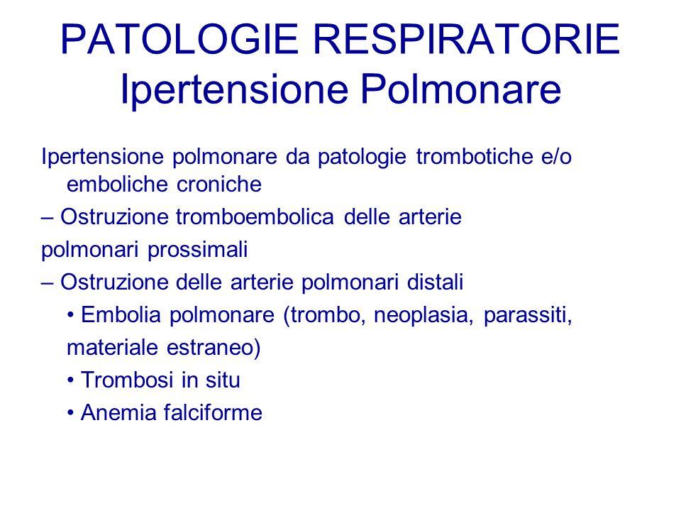 PATOLOGIE RESPIRATORIE Ipertensione Polmonare Ipertensione polmonare da patologie trombotiche e/o emboliche croniche – Ostruzione tromboembolica delle