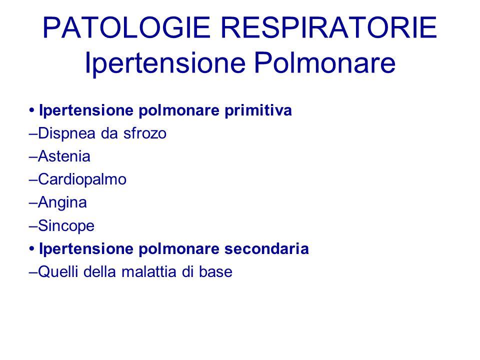 PATOLOGIE RESPIRATORIE Ipertensione Polmonare Ipertensione polmonare primitiva –Dispnea da sfrozo –Astenia –Cardiopalmo –Angina –Sincope Ipertensione