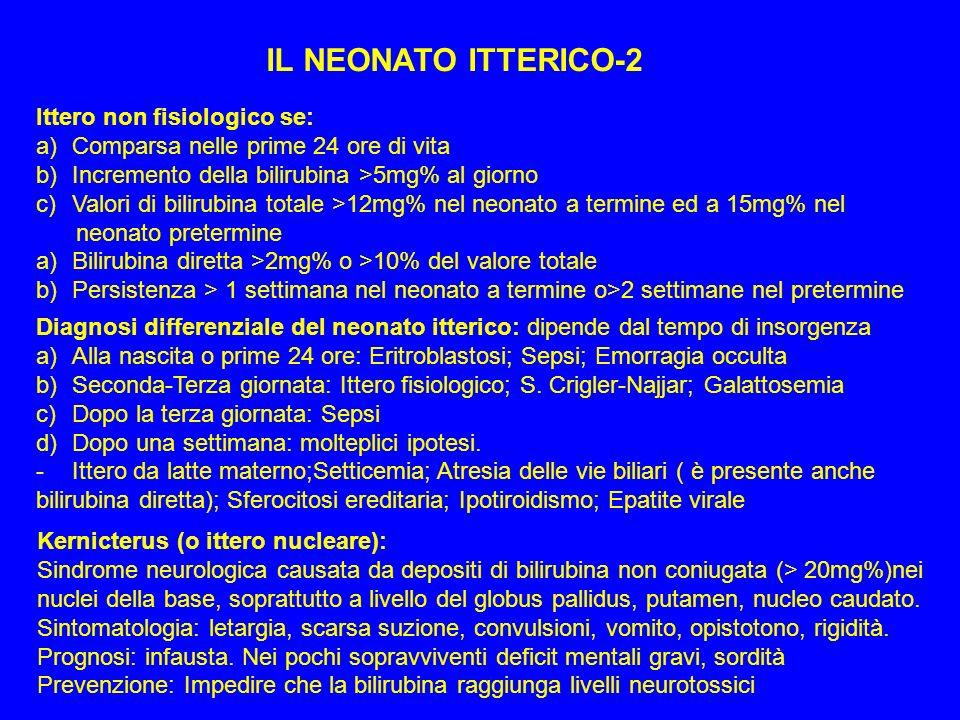 IL NEONATO ITTERICO-2 Ittero non fisiologico se: a)Comparsa nelle prime 24 ore di vita b)Incremento della bilirubina >5mg% al giorno c)Valori di bilir