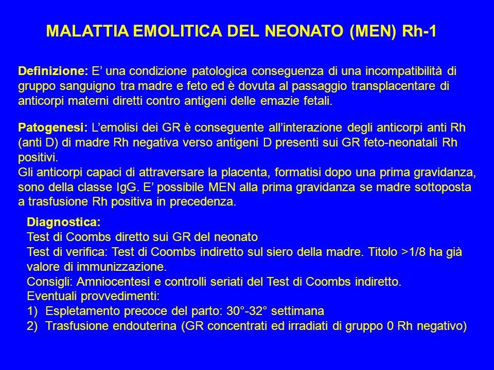 MALATTIA EMOLITICA DEL NEONATO (MEN) Rh-1 Definizione: E una condizione patologica conseguenza di una incompatibilità di gruppo sanguigno tra madre e