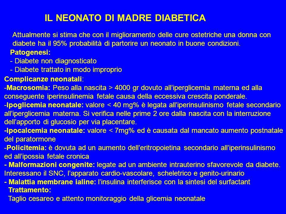 IL NEONATO DI MADRE DIABETICA Attualmente si stima che con il miglioramento delle cure ostetriche una donna con diabete ha il 95% probabilità di parto