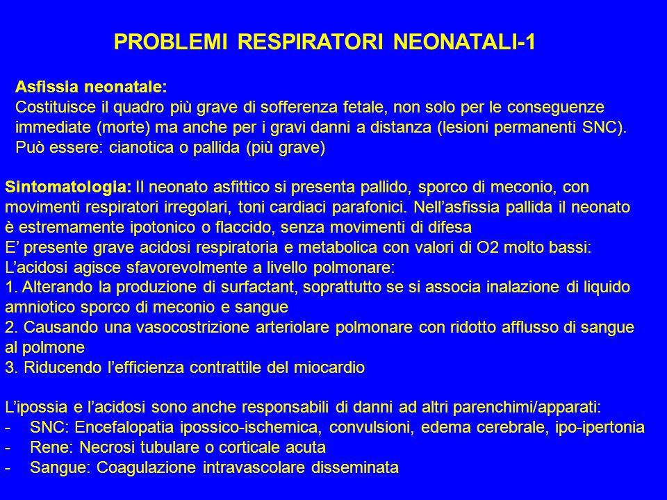 PROBLEMI RESPIRATORI NEONATALI-1 Asfissia neonatale: Costituisce il quadro più grave di sofferenza fetale, non solo per le conseguenze immediate (mort