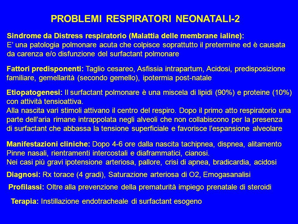 PROBLEMI RESPIRATORI NEONATALI-2 Sindrome da Distress respiratorio (Malattia delle membrane ialine): E una patologia polmonare acuta che colpisce sopr