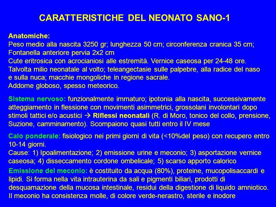 CARATTERISTICHE DEL NEONATO SANO-1 Anatomiche: Peso medio alla nascita 3250 gr; lunghezza 50 cm; circonferenza cranica 35 cm; Fontanella anteriore per
