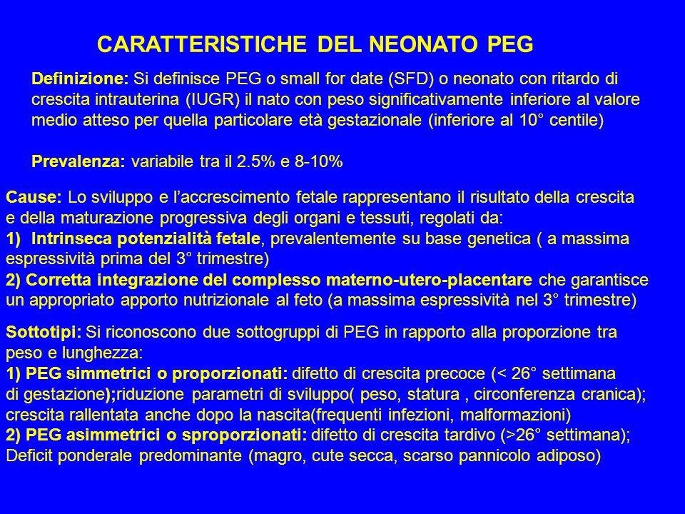 COMPLICANZE DEL NEONATO PEG Patologie respiratorie -Aspirazione massiva di liquido amniotico tinto di meconio -Emorragie polmonari -Persistenza circolazione fetale -Malattia membrane ialine polmonari (meno frequente perché maturazione polmonare non compromessa, anzi accelerata dallo stato di stress fetale) Difficoltà di termoregolazione: -Perdita eccessiva di calore attraverso la cute (sproporzione tra peso/superficie corp.) - Inefficaci meccanismi di termogenesi (scarsa distribuzione tessuto adiposo) Disturbi del metabolismo: -Ipoglicemia nel 20-25% dei casi legata a diversi fattori: 1)Ridotta glicogenolisi (riduzione depositi di glicogeno epatico) 2)Ridotta lipolisi (scarsa rappresentazione tessuto adiposo sottocutaneo e di NEFA) 3)Ridotta attività sistemi enzimatici per metabolismo glicolitico e gluconeogenetico 4)Iperinsulinismo relativo conseguente allo squilibrio insulina/glucosio 5)Aumentato fabbisogno di glucosio secondario a policitemia, ipotermia Sintomatologia: entro 12-24 ore, tremori, irritabilità, convulsioni, cianosi Patologia ematologica: - Policitemia con iperviscosità (Ht> 65%); alterazione test coagulazione, piastrinopenia Malformazioni congenite: 5-13% dei casi (2-5 volte superiori popolazione normale)
