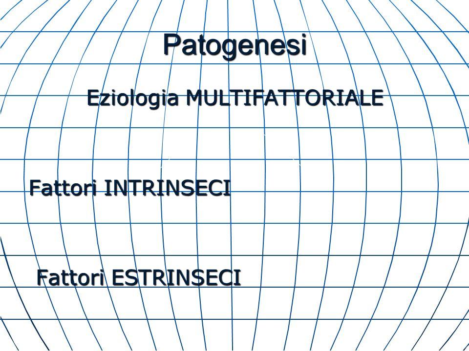 Patogenesi Eziologia MULTIFATTORIALE Fattori INTRINSECI Fattori ESTRINSECI Fattori ESTRINSECI