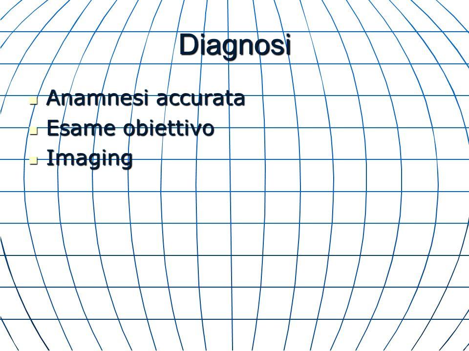 Diagnosi Anamnesi accurata Anamnesi accurata Esame obiettivo Esame obiettivo Imaging Imaging