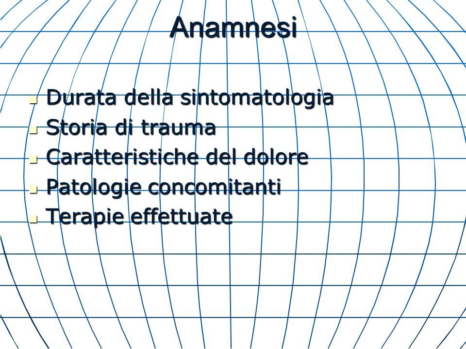 Anamnesi Durata della sintomatologia Durata della sintomatologia Storia di trauma Storia di trauma Caratteristiche del dolore Caratteristiche del dolo