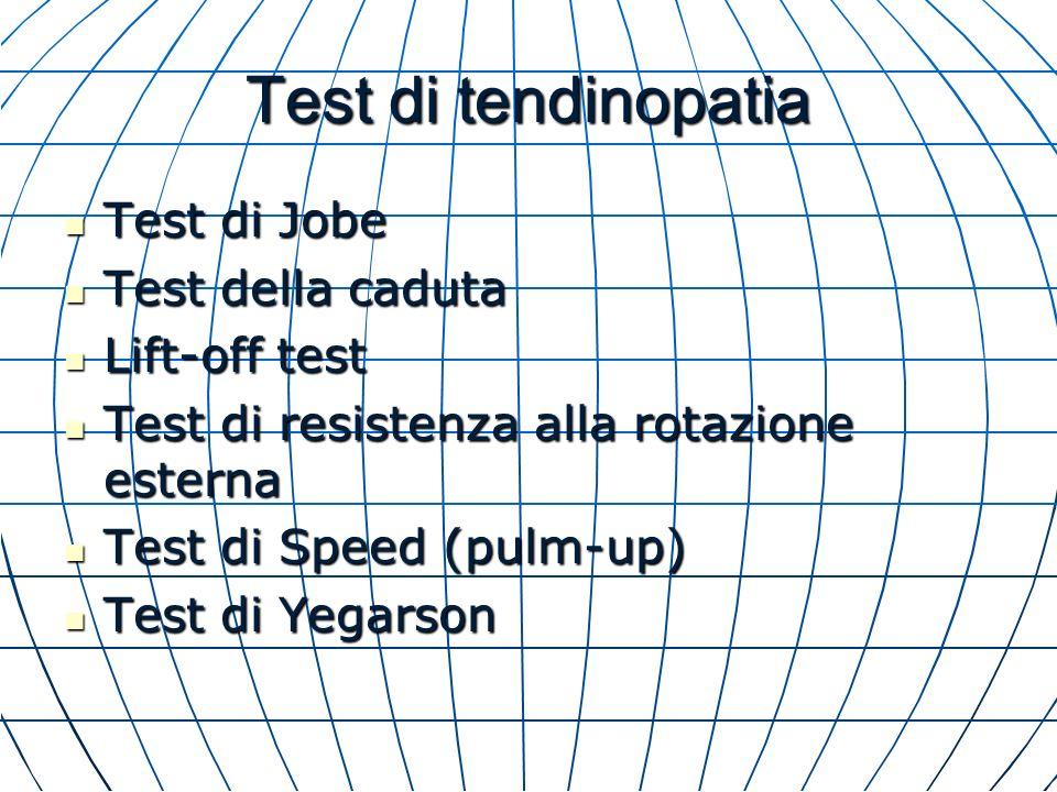 Test di tendinopatia Test di Jobe Test di Jobe Test della caduta Test della caduta Lift-off test Lift-off test Test di resistenza alla rotazione ester