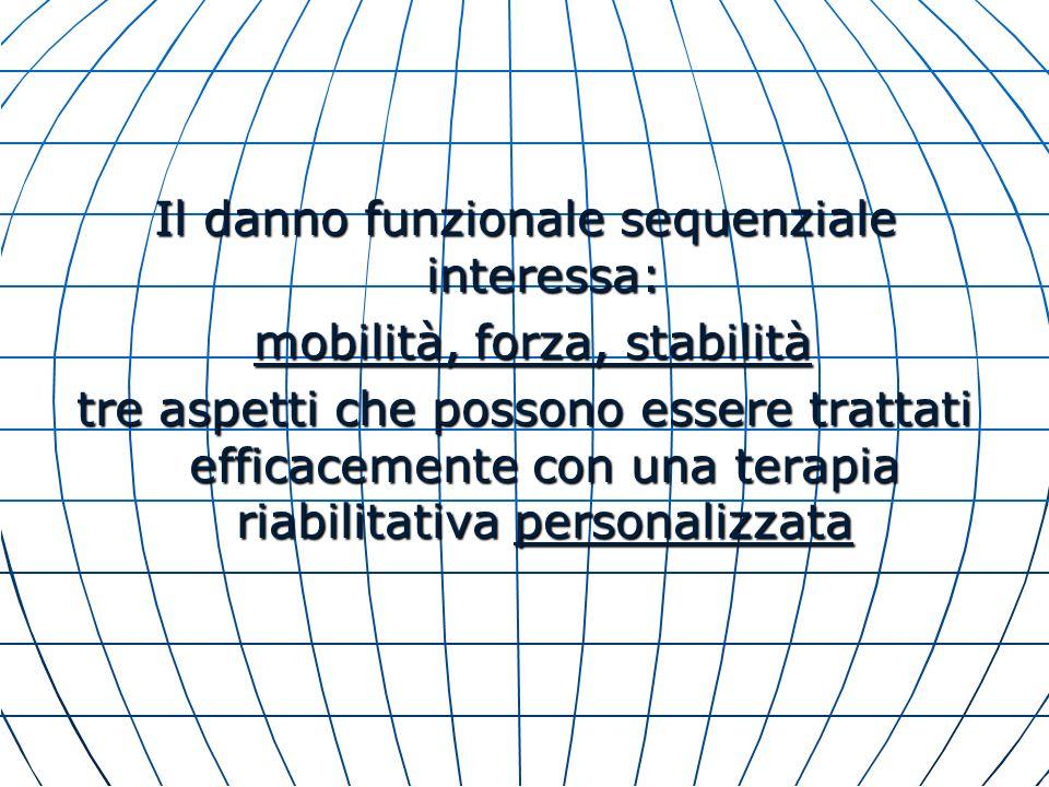 Il danno funzionale sequenziale interessa: mobilità, forza, stabilità mobilità, forza, stabilità tre aspetti che possono essere trattati efficacemente