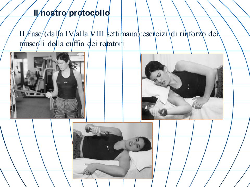 Il nostro protocollo II Fase (dalla IV alla VIII settimana):esercizi di rinforzo dei muscoli della cuffia dei rotatori