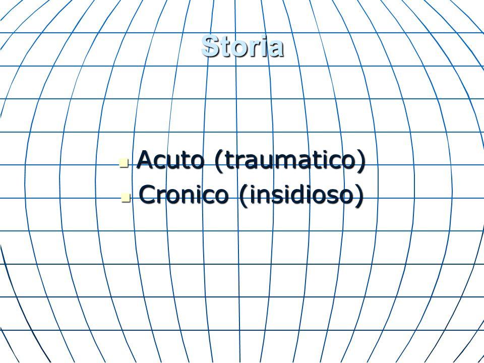 Storia Acuto (traumatico) Acuto (traumatico) Cronico (insidioso) Cronico (insidioso)