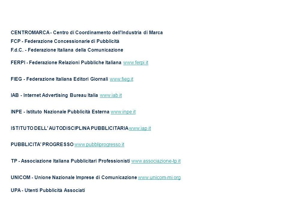 CENTROMARCA - Centro di Coordinamento dell'Industria di Marca FCP - Federazione Concessionarie di Pubblicità F.d.C. - Federazione Italiana della Comun