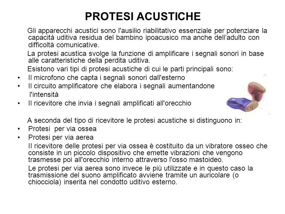 PROTESI ACUSTICHE Gli apparecchi acustici sono l'ausilio riabilitativo essenziale per potenziare la capacità uditiva residua del bambino ipoacusico ma