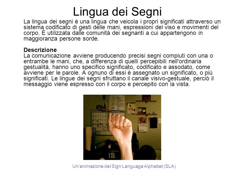 Lingua dei Segni La lingua dei segni è una lingua che veicola i propri significati attraverso un sistema codificato di gesti delle mani, espressioni d