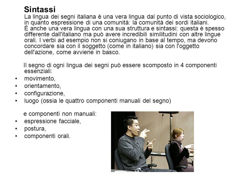 Sintassi La lingua dei segni italiana è una vera lingua dal punto di vista sociologico, in quanto espressione di una comunità: la comunità dei sordi i