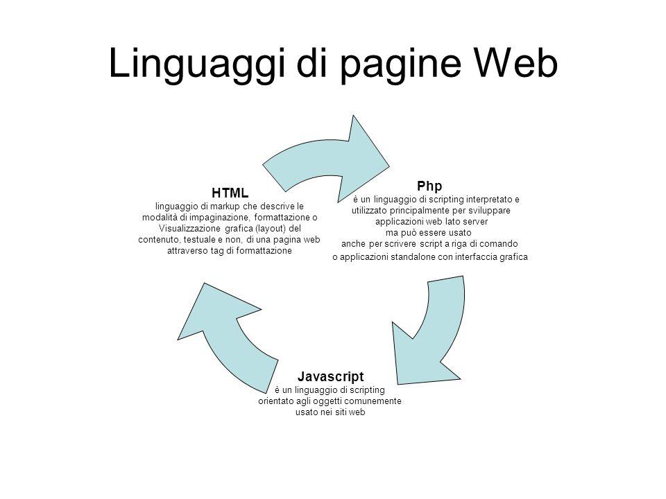 Linguaggi di pagine Web Php è un linguaggio di scripting interpretato e utilizzato principalmente per sviluppare applicazioni web lato server ma può e