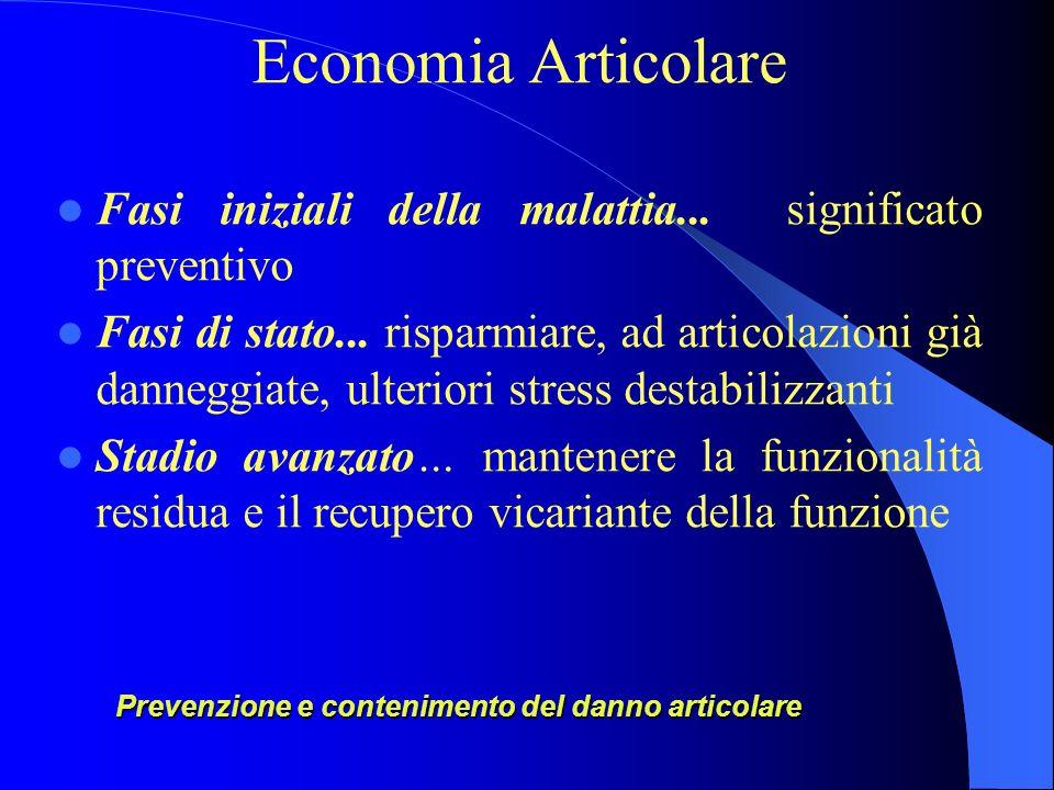 Prevenzione e contenimento del danno articolare Economia Articolare Fasi iniziali della malattia... significato preventivo Fasi di stato... risparmiar